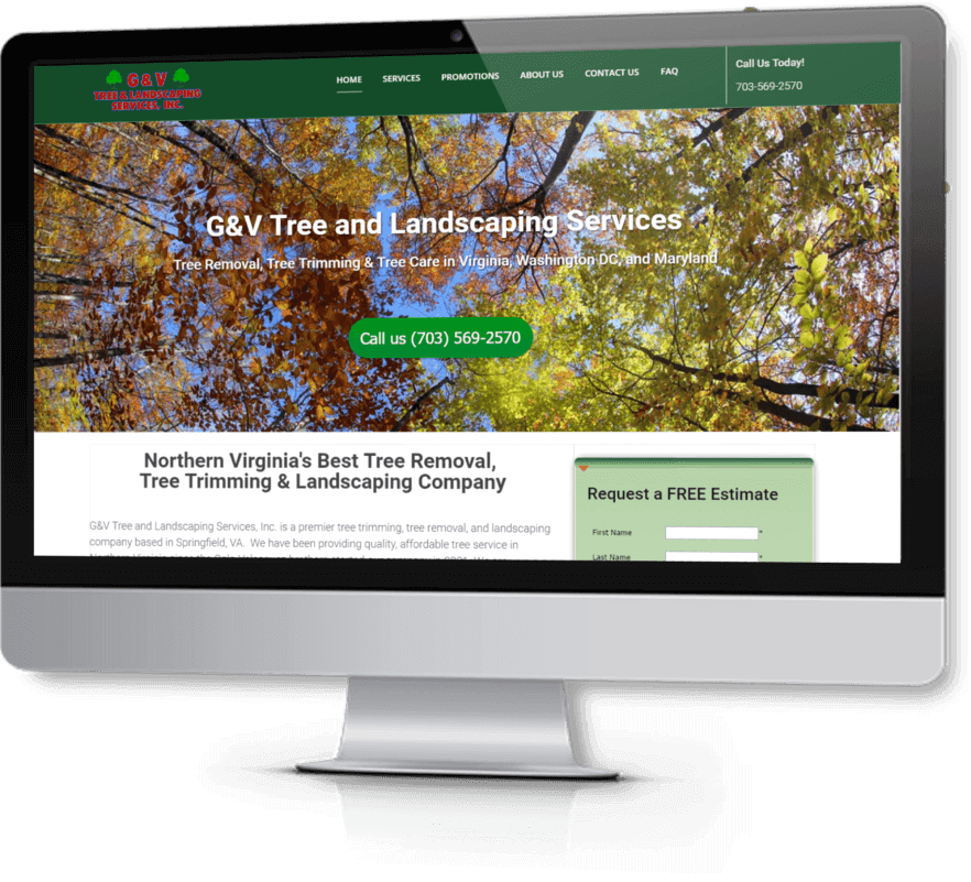 Web Design and Virginia SEO client - G&V Tree Service