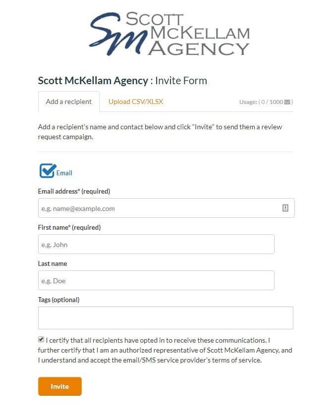 Scott McKellam Agency - Review invite email