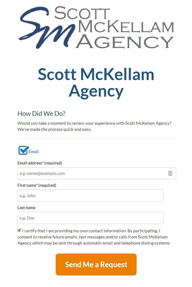 Scott McKellam Agency - Reviews - opt in form